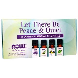🚚 Now Foods - Let There Be Peace & Quiet (Eucalyptus Oil , Lavender Oil , Peaceful Sleep Oil Blend, Peppermint Oil) - 10ml each