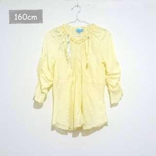 【Angel girls】緞帶荷葉邊上衣(黃色160cm)