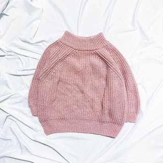 🚚 韓版粉藕色粗針織上衣 #一百元好物