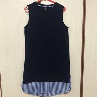 Iora Navy Blue Stripes Dress