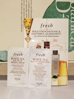 Sample一套3件專櫃直送Fresh Black Tea Instant Perfecting Mask 4ml,Black Tea Age Delay Firming Serum 2ml x 1 and Black Tea Kombucha Facial Treatment Essence 4ml.x 1