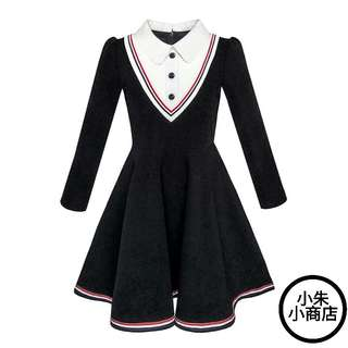Fashion Girls Dress School Uniform White Collar Long Sleeve Striped Summer Princess Wedding Party Dresses