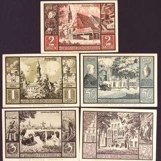 德國大戰時期使用的紙幣一套少有。全新。