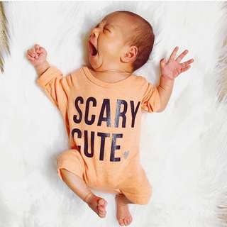 ✔️STOCK - YELLOW SCARY CUTE NEWBORN BABY TODDLER BOY/GIRL ROMPER JUMPER KIDS CHILDREN CLOTHING