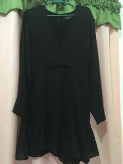 Black Long Sleeves Wrap Around Dress