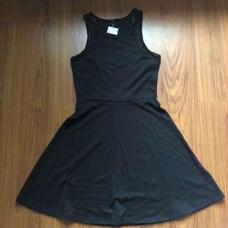 H&M Black Skater Dress With Mesh Detail