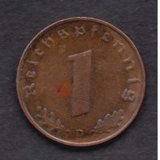 1937 Nazi Germany One Reichspfennig Bronze Coin