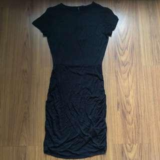 Cotton On Black Bodycon Dress with Wrap-around Detail