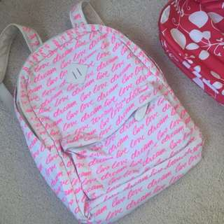 cute pink back pack