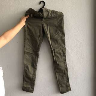 H&M Army Green Biker Pants/Jeans