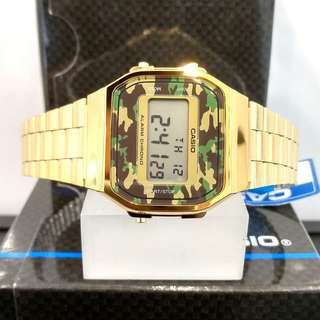 Brand New 100% Authentic Casio Vintage Series Gold & Camo Green Dial Digital Watch A168WEGB-3DF