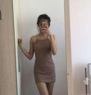 ribbed nude bodycon halter dress