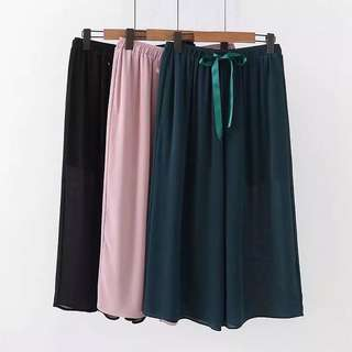 (2XL~5XL) Chiffon wide leg pants female elastic belt was thin loose large size nine points casual pants
