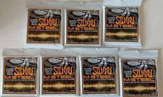Ernie Ball M-Steel 9-46 Electric Guitar Stings (7 Packs)