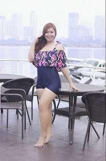 Plus Size - Off Shoulder Swimsuit / Swimwear