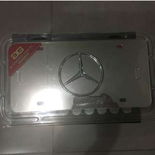 Mercedes Benz Silver Logo on Mirror Silver Stainless Steel Front License Plate with Caps