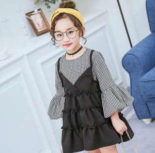 RM35 GIRLS TWO PLAID FLARE DRESS