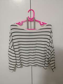 H&M STRIPES CROPPED LONG SLEEVES