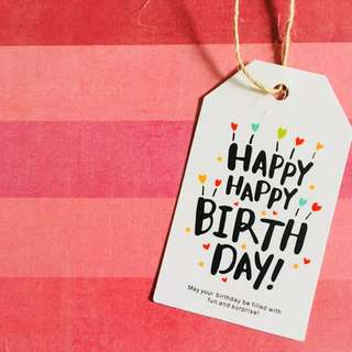 10pcs 🎂Happy Birthday Favour Gift Tag Card