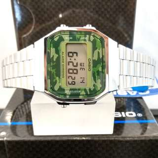 Brand New 100% Authentic Casio Vintage Series Steel Case & Camo Green Dial Digital Watch A168WEC-3DF