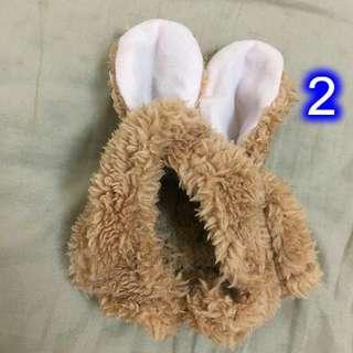 🚚 貓咪 咖啡色兔耳朵帽子/頭套 #畢業一百元出清