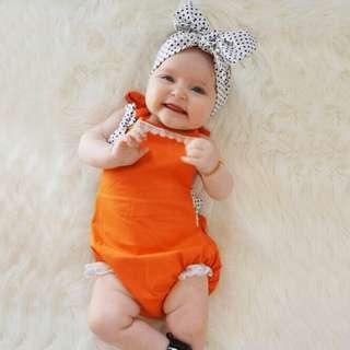 ✔️STOCK - 2pc ORANGE HALTER LACE NEWBORN ONESIE & WHITE POLKA HEADBNAD BABY TODDLER GIRL ROMPER KIDS CHILDREN CLOTHING