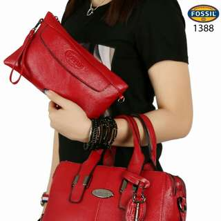 FREE ONGKIR Set 2 in 1 FOSSIL Maddox Neo Hardware Black Clemence Leather 1388#*