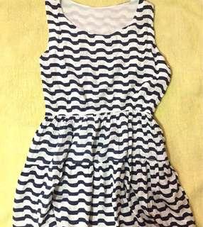 Blue grey & White Striped Dress