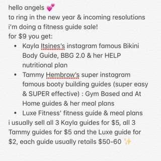 FITNESS GUIDE BUNDLE Tammy Hembrow, Kayla Itsines, Luxe fitness