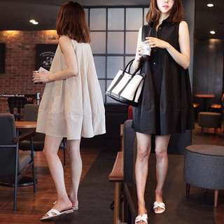 (S~2XL) Cotton and linen loose casual students sleeveless a word doll skirt princess skirt summer