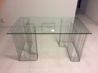 Desk with metal frame legs and glass top