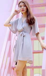 [SHOPLOVET] BNWT Rayna Kimono V-Neck Dress with Sash (Pastel Grey) (S)