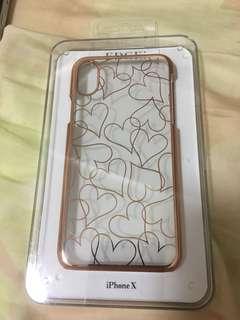 iPhone X case 日本電話殼。心心玫瑰金色