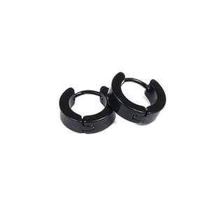 Men's Stainless Steel Round Earring Black