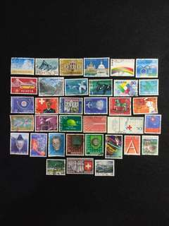 Switzerland 35 Different Used Stamps