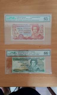 Falkland and carribean banknotes