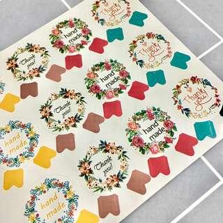 [1 sheet] 'Handmade' Ribbon Sticker Labels for Baking Cookies Food Box Packaging