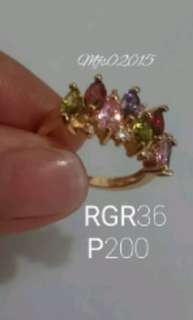 RGR36 Multicolored Rose Gold Plated Ring size 6