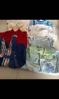 [Preloved] (0-12M) Baby Boy Clothings In Bundle