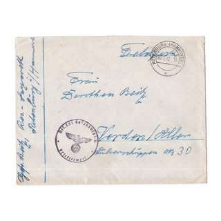1942 Nazi German Feldpost Envelope
