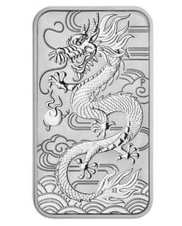 2018 1 oz Australia Dragon Silver Rectangular BU Coin Bar