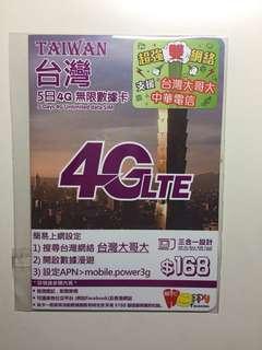 台灣五日4G無限數據卡