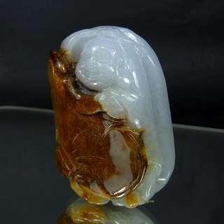 🚚 珍珠林~新品到.特價回饋~緬甸A貨紫羅蘭帶紅皮歡喜彌勒佛玉珮.彌勒把件#365