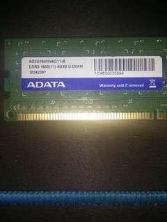 威剛 DDR3 1600單面 4g