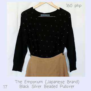 The Emporium (Japanese Brand) Black Silver Beaded Pullover