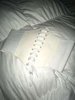 White corset belt