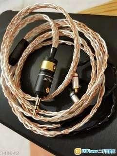 8絞冷涷7N單晶銅銀混織耳機升級線99%new ( 新款威寶大 3.5 頭 )mmcx 插 fender shure westone campfire