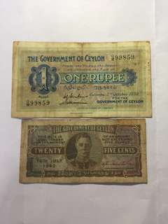 1939年 Ceylon 錫蘭 One Rupee & 1942年 25 Cents 紙幣