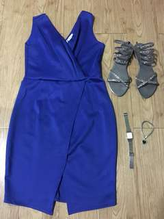 Blue V neck Dress