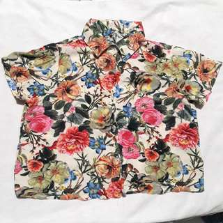 Floral Blouse for high waist shorts, pants, or skirt!